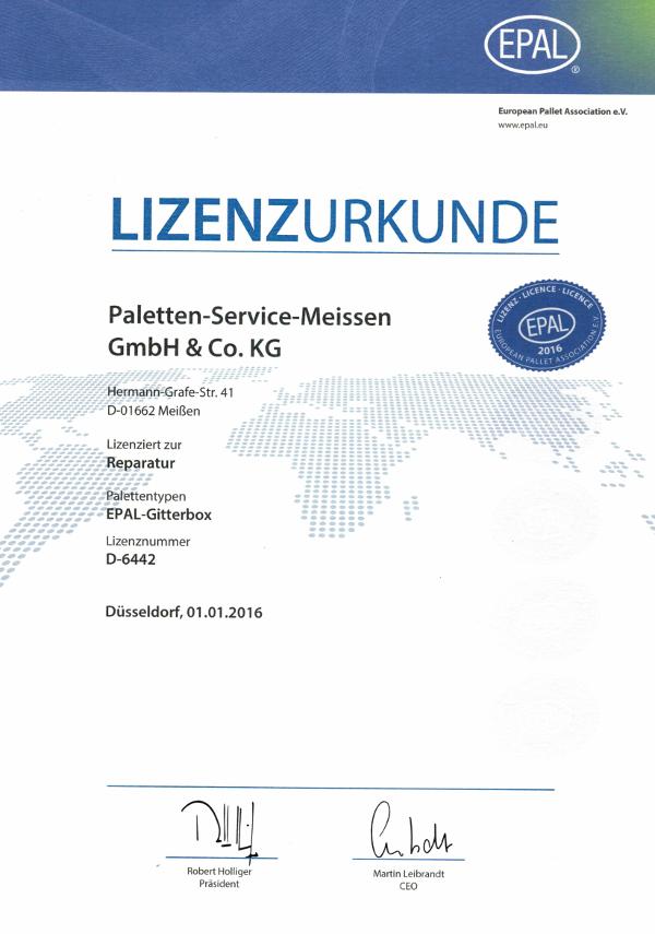Lizenz Gitterboxen Paletten-Service-Meissen