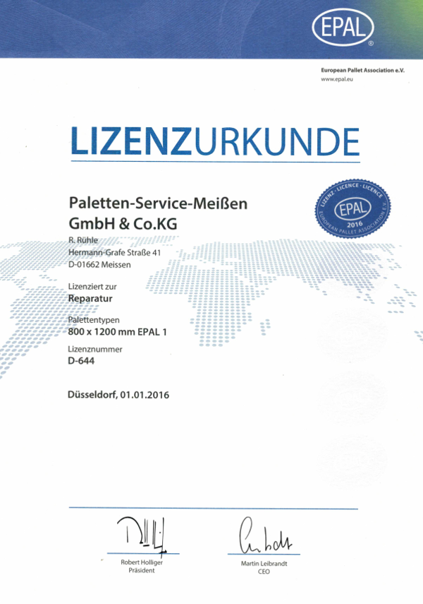 Lizenzurkunde Paletten-Service-Meissen